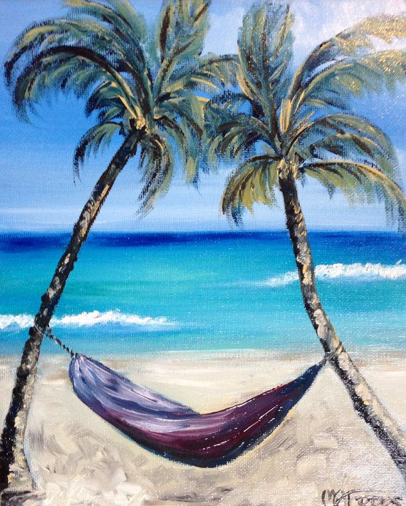 25 Best Ideas About Hammocks On Pinterest: Hammock And Palm Trees On Beach Oil Painting By