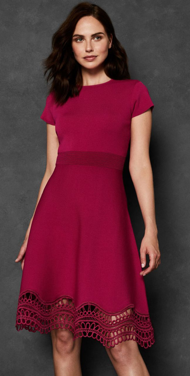 Winter Berry Pink Knitted Skater Dress Lace Trim Knitted Skater Dress What To Wear To A Winte Wedding Guest Outfit Winter Wedding Party Outfits Guest Dresses [ 1278 x 648 Pixel ]