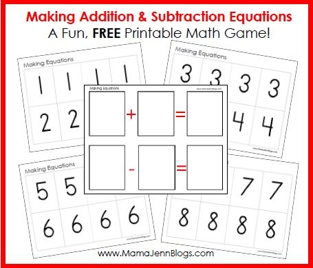 Fun, FREE, printable math game about making addition & subtraction equations.Math Games, Subtraction Math, Printables Math, Games Printables, Addition And Subtraction, Addition Subtraction, Free Printables, Subtraction Equation, Equation Games