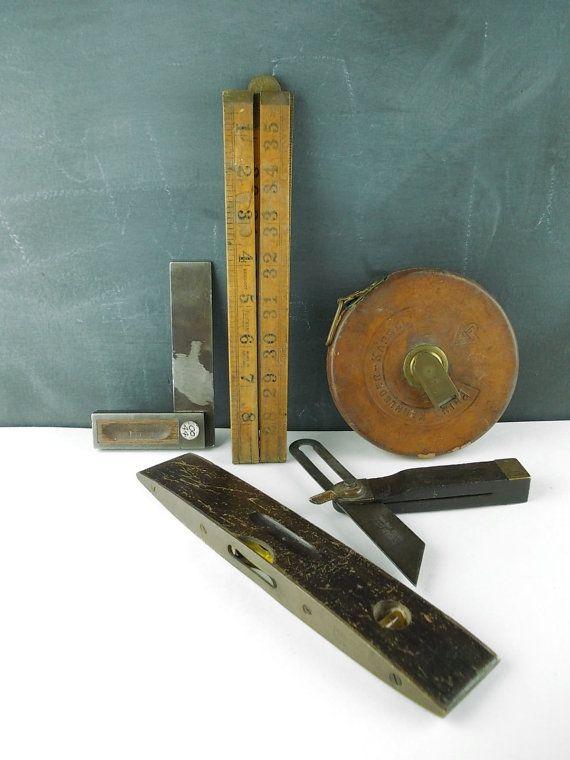 Carpentry Carpenter Woodworker Woodworking Wooden: Antique Carpenters Tools : Squares, Measuring Tape, Ruler
