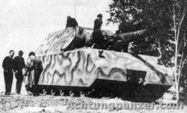 """Panzerkampfwagen VIII Maus.Panzerkampfwagen VIII Maus. The end stage of German Tank Designers sheer lunacy in terms of """"bigger is better"""" Panzer production. Most bridges would have been unable to bear it's weight. It guzzled vast amounts of fuel just to lumber along, when they had virtually none left. Just as well they did not do what the Russians did (mass produced a rough & ready but highly effective medium tank like the T34). It could have dragged the war out for years."""