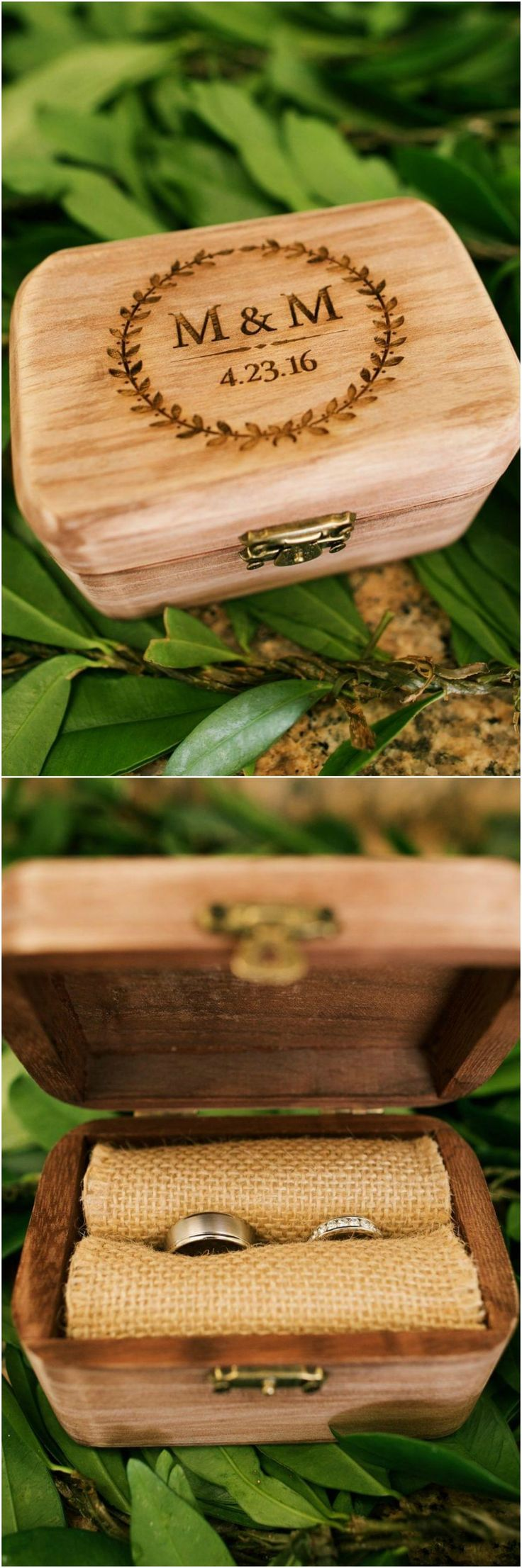 Wooden ring box, engraved wood, monogram, burlap, wedding rings // Anna Kim Photography