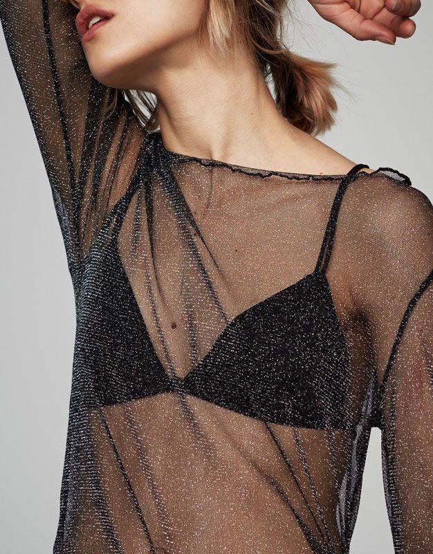 Pull&Bear - femme - vêtements - t-shirts - t-shirt tulle brillant manches longues - noir - 05592382-V2017