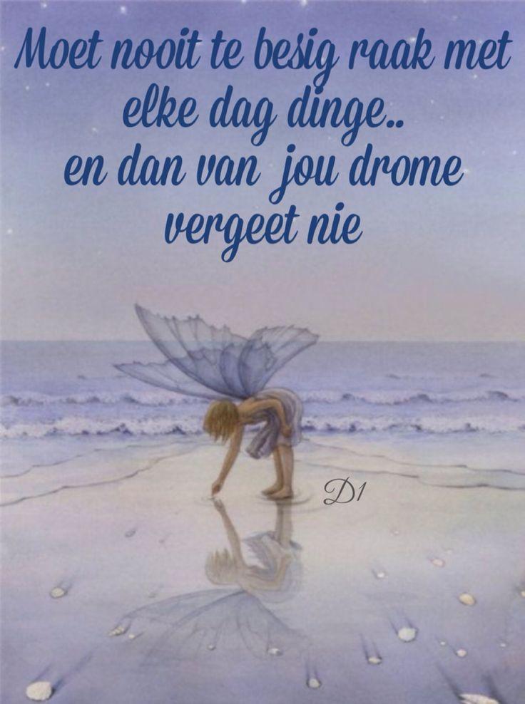 Moet nooit te besig raak met elke dag dinge.. en dan van jou drome vergeet nie…