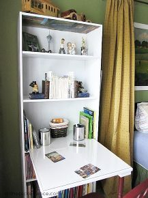 save on space by turning a bookcase into a desk here s how, painted furniture, repurposing upcycling, I had a piece of plywood cut to size careful to measure to the appropriate depth for comfortable leg room Then it was attached using wood glue to the the shelf Be sure you adjust the shelf to the right height