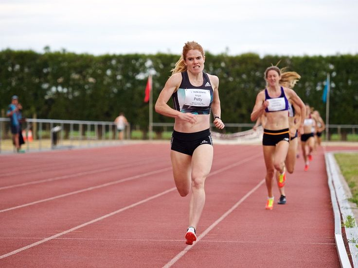 Angela Petty winning the 800 metre race at the 2017 Potts Classic at Hastings, New Zealand.