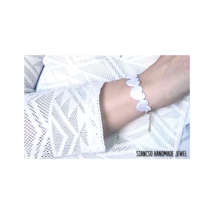 White Handmade heart bracelet