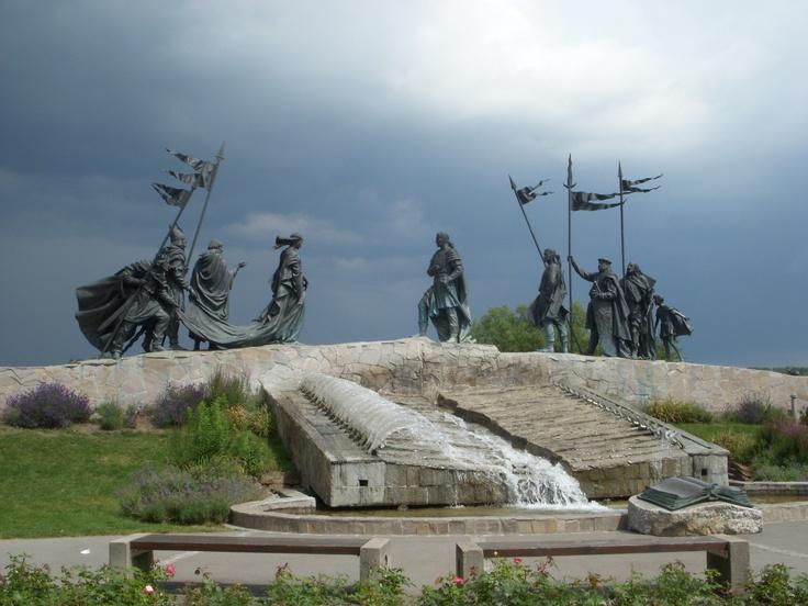 The Nibelungen Fountain on the Danube Promenade, Tulln, Austria