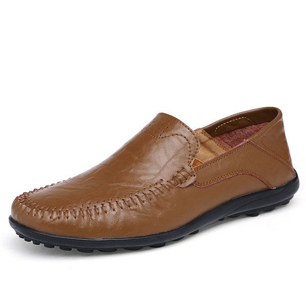 Large Size Men Stitching Slip On Loafers Flat Casual Leather Shoes