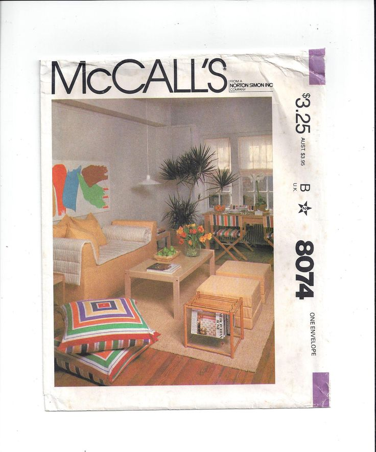 McCall's 8074 Pattern for First Apartment Home Decor Accessories, Couch, Futon Pad, Covers, 1982, FACTORY FOLDED, UNCUT, Vintage Pattern by VictorianWardrobe on Etsy