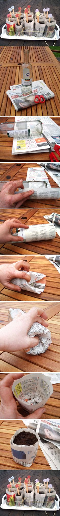 DIY newspaper seedling pots #homesfornature
