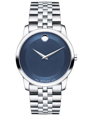 Movado Mens Museum Classic Dress Watch - Blue Museum Dial - Stainless Steel