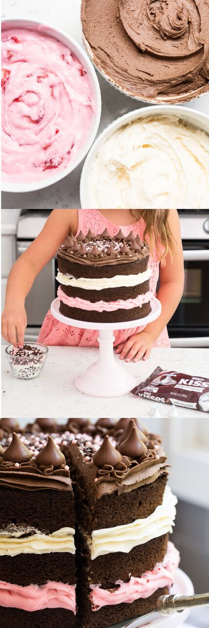 Neapolitan cake with layers of chocolate, vanilla and strawberry buttercream frosting. A classic ice cream flavor turned into a delicious cake!@HERSHEY'S Chocolate#ad