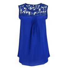 Blusas Femininas Women Blouses 2016 New Summer Casual Chiffon Lace Blosue Sleeveless Patchwork Floral O-Neck Shirts women tops(China (Mainland))