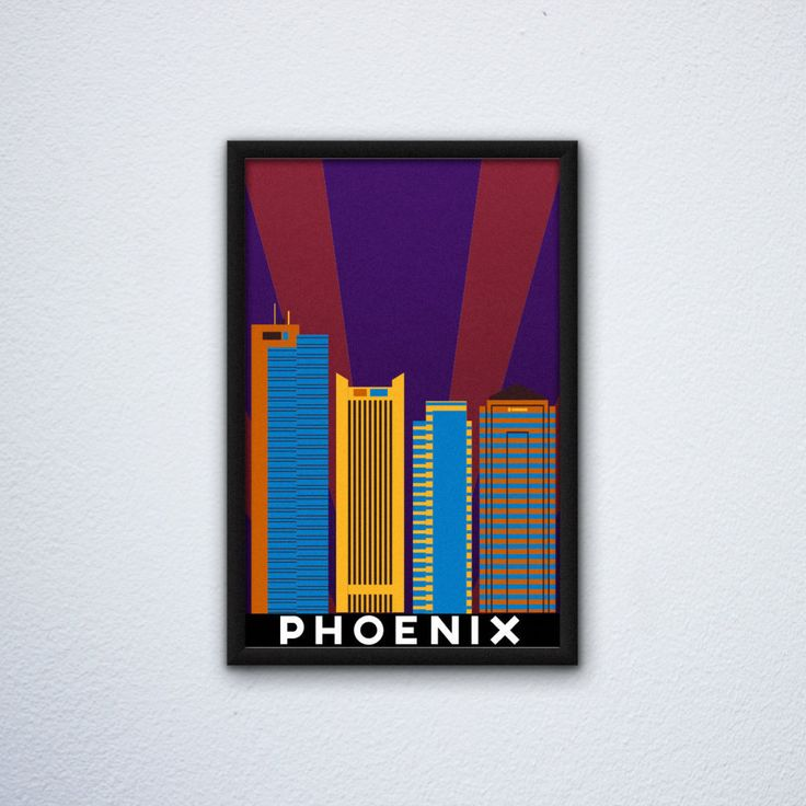 """Phoenix Skyline Poster featuring the Chase Tower, the US Bank Center, the Alliance Bank Tower, and the Century Link Tower (12"""" x 18"""") by WEPdesign on Etsy"""