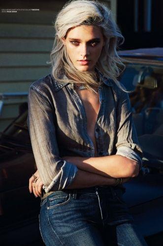Leila wears shirt with stud collar (Timezone), jeans (Paige Denim)