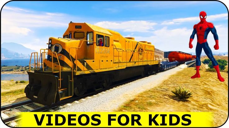 Trains for Kids with Spiderman Funny Video for Children Nursery Rhymes Songs