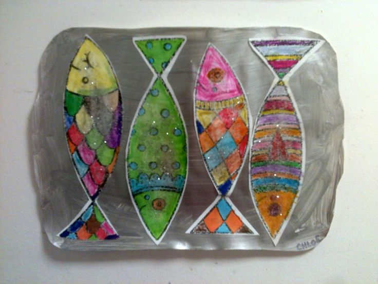 whimsical mixed media painting of can of colorful sardines...les boîtes de sardines !