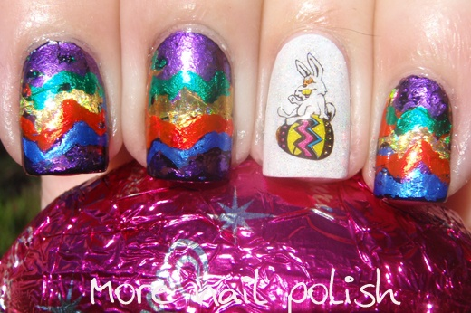 Foil Easter Eggs with Water decal accent nail: Nails Art, Accent Nails, Pretty Nails, Eggs Nails, Nails Polish, Sylvie Nails, Sylvi Nails, Easter Nails, Holidays Nails