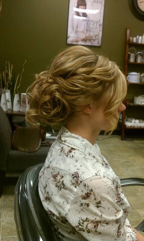Loose Curly Wedding Updo Bride Hairstyle