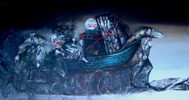 art work by Hedar Abadi migrating 170cmx90cm oil on canvas