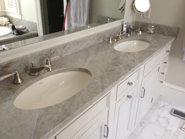 Double vanity top by Atlantic Stone. Kiawah residence.