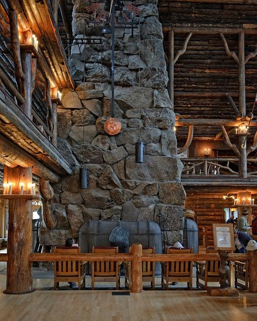 the fireplace in Old Faithful Inn