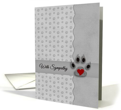 #Pet #Sympathy in Silver and Black - Paw Prints and Heart card