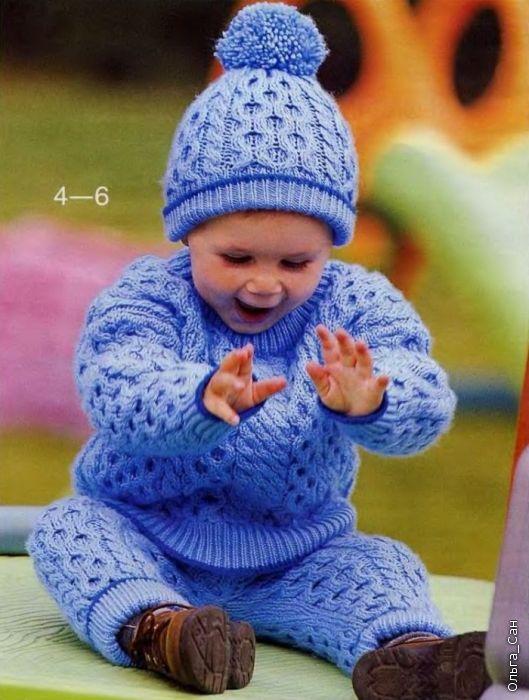 Джемпер, штанишки и шапочка насыщенного синего цвета — такой комплект обязательно понравится вашему малышу. Возраст: 10—18 месяцев.. Обсуждение на LiveInternet - Российский Сервис Онлайн-Дневников