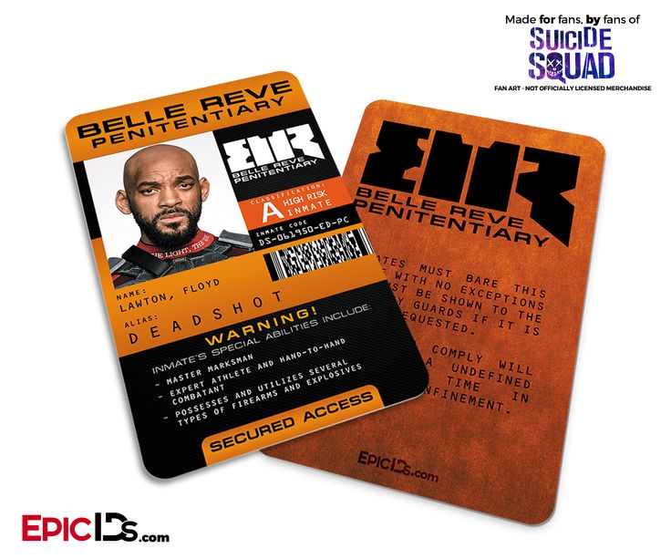 Belle Reve Penitentiary 'Suicide Squad' Inmate ID Card - Deadshot / Floyd Lawton