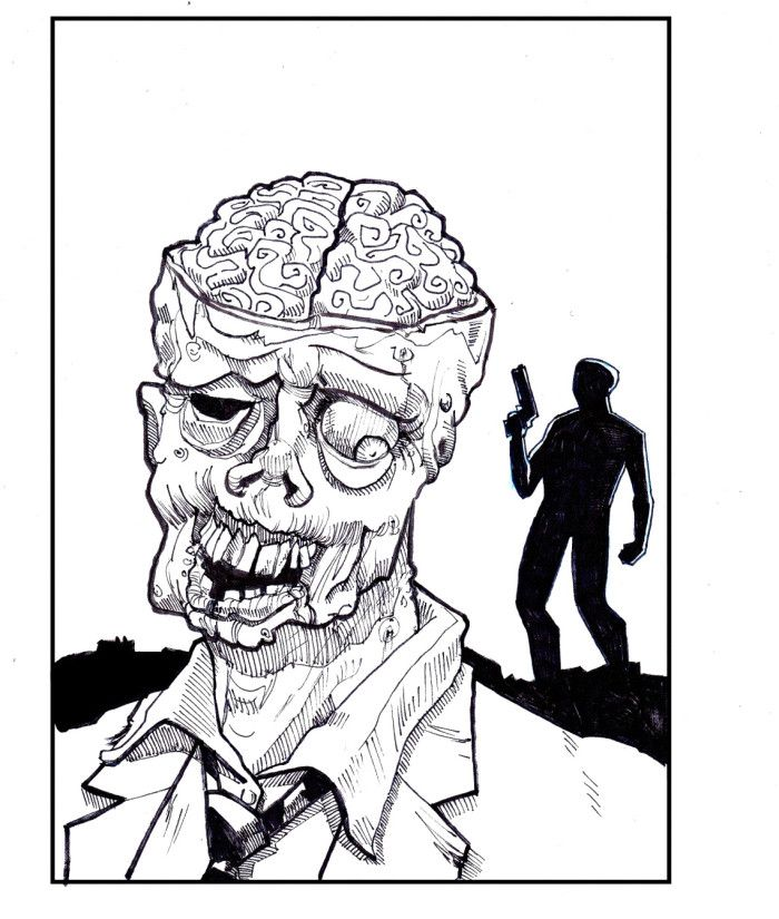 Zombie Destroy Coloring Pages