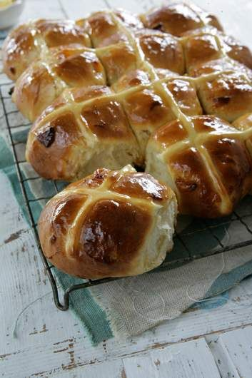 Apricot and cardamon hot cross buns. Substitute the apricots and cardamom with sultanas and mixed spice for a more traditional hot cross bun.