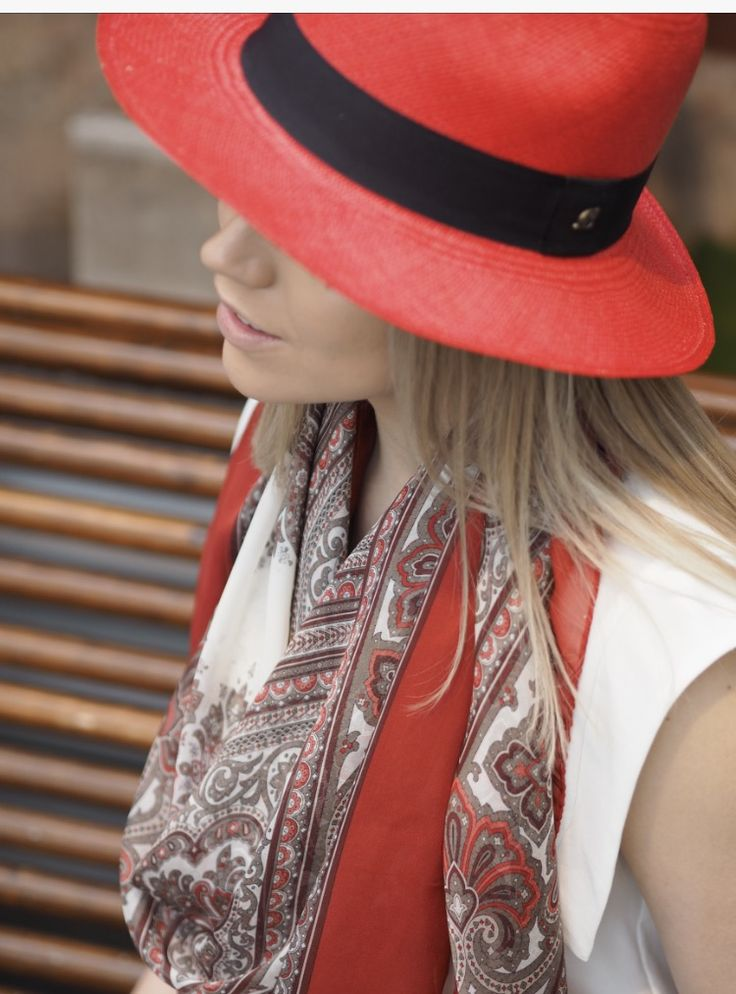 Red accessories are always a good choice.  Balmuir Como scarf with Panama hat