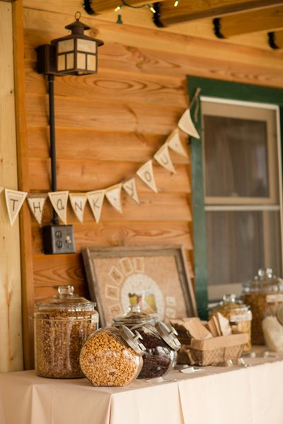 "trail mix bar | wedding  could be a cute idea... no fuss, inexpensive snacks for ""cocktail hour"" or late-night."