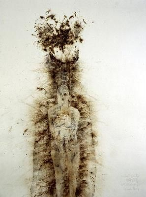 Cai Guo-Qiang is a Japanese artist who explores with gunpowder and art. Gunpowder being a very violent material, the artist has used the actual powder to capture a delicate feeling.