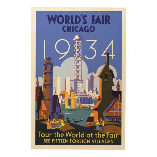 Vintage 1934 Chicago World's Fair Wood Print