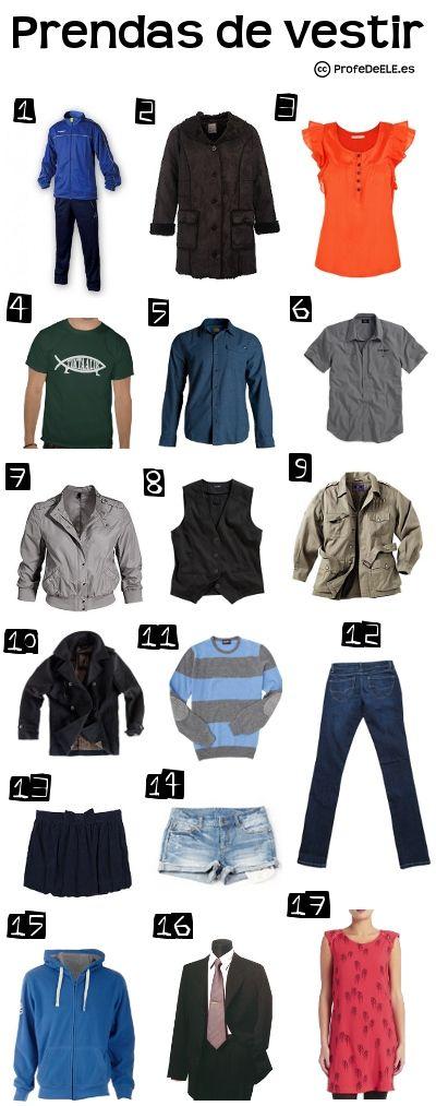 Vocabulario de la ropa (Nivel A2) ~ Actividad online para practicar con imágenes el léxico de la ropa (prendas de vestir) | @ProfeDeELE.es