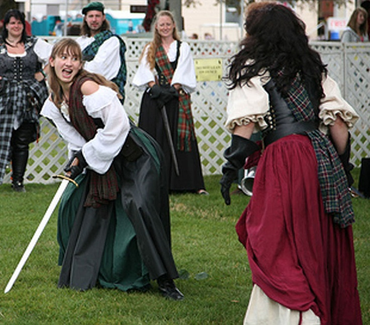 My daughter and I doing a funny sword fighting skit at the Scottish Highland Games. (Our family are professional actors and stunt people with the Seattle Knights and Pirates of Puget Sound)  www.facebook.com/karla.mohtashemireese