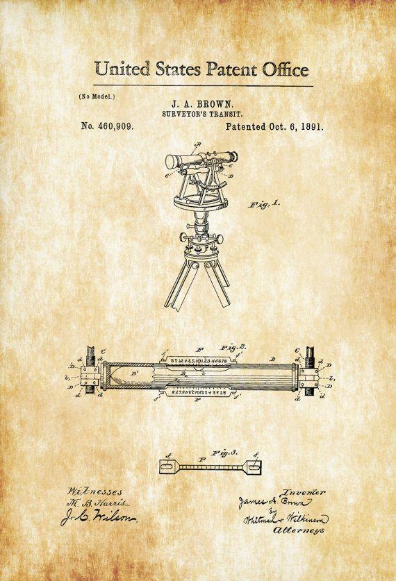Surveyor's Transit Patent 1891 - Patent Print Office Decor Living Room Decor Land Surveyor Industrial Art  Vintage Instruments by PatentsAsPrints
