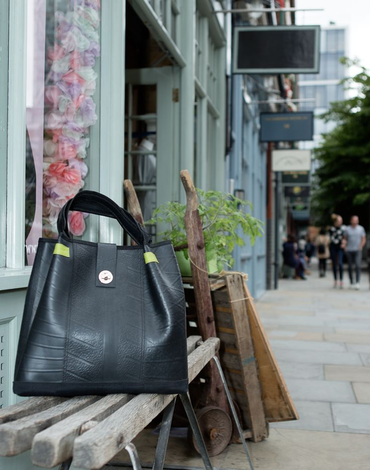 Spacious tote bag made of inner tube. #veganbag #upcycling http://paguro.co.uk/shop/tote-bags-made-from-recycled-material/