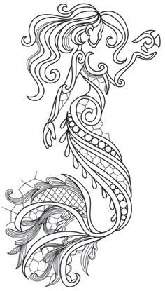 aquarius mermaid urban threads unique and awesome embroidery designs adult coloring pagescoloring - Mermaid Coloring Pages Adults