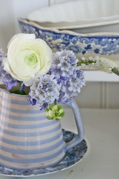 I love this blue and white striped jug!
