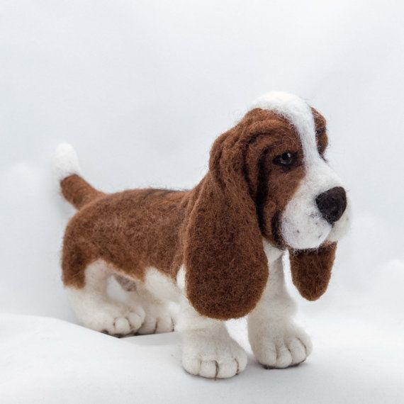 Needle Felted Dog Basset Hound Sculpture by WoolSculptures on Etsy, $190.00