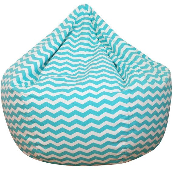 Chevron Turquoise Blue Bean Bag Chair By ChoosyShop On Etsy
