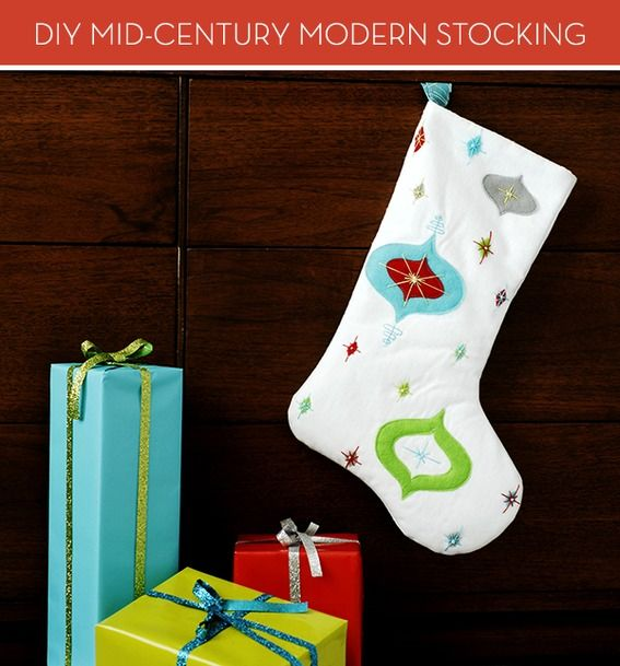 Mid-Century Modern DIY Christmas Stocking -- Beautiful, crisp, clean lines and bright colors!