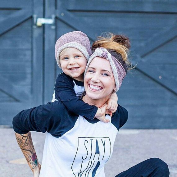 Finally a matching set for mommies with boys!! Knotted turban headband and matching hipster beanies from NOXXaz