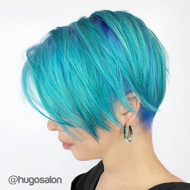 Love this turquoise and blue hair color and great undercut short hair design by Doug Theoharis of Hugo Salon www.hotonbeauty.com