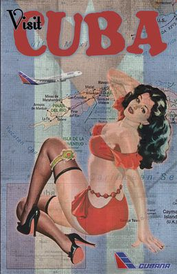 Cuba VINTAGE TRAVEL ART POSTER , Cubana Airlines PINUP CUBANA de AVIACION