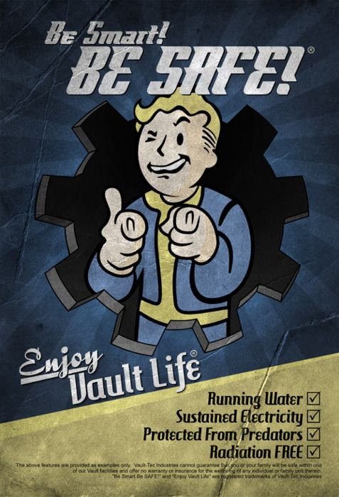 Fallout 3: proving there is no possibility of downside to a vault life! Not counting Gary clones, parasitic plants, overwhelming radiation, or transformation experiments on the residents.