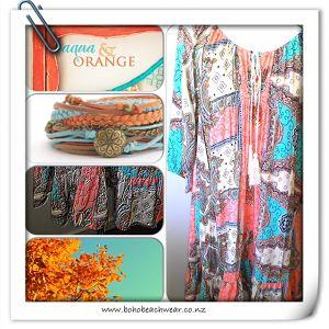 Aqua and Orange Swing Dress